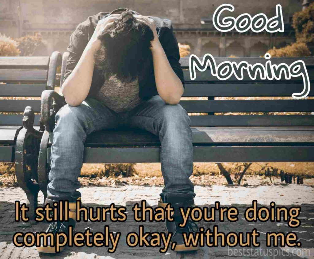 good morning sad quotes with a boy sitting alone image