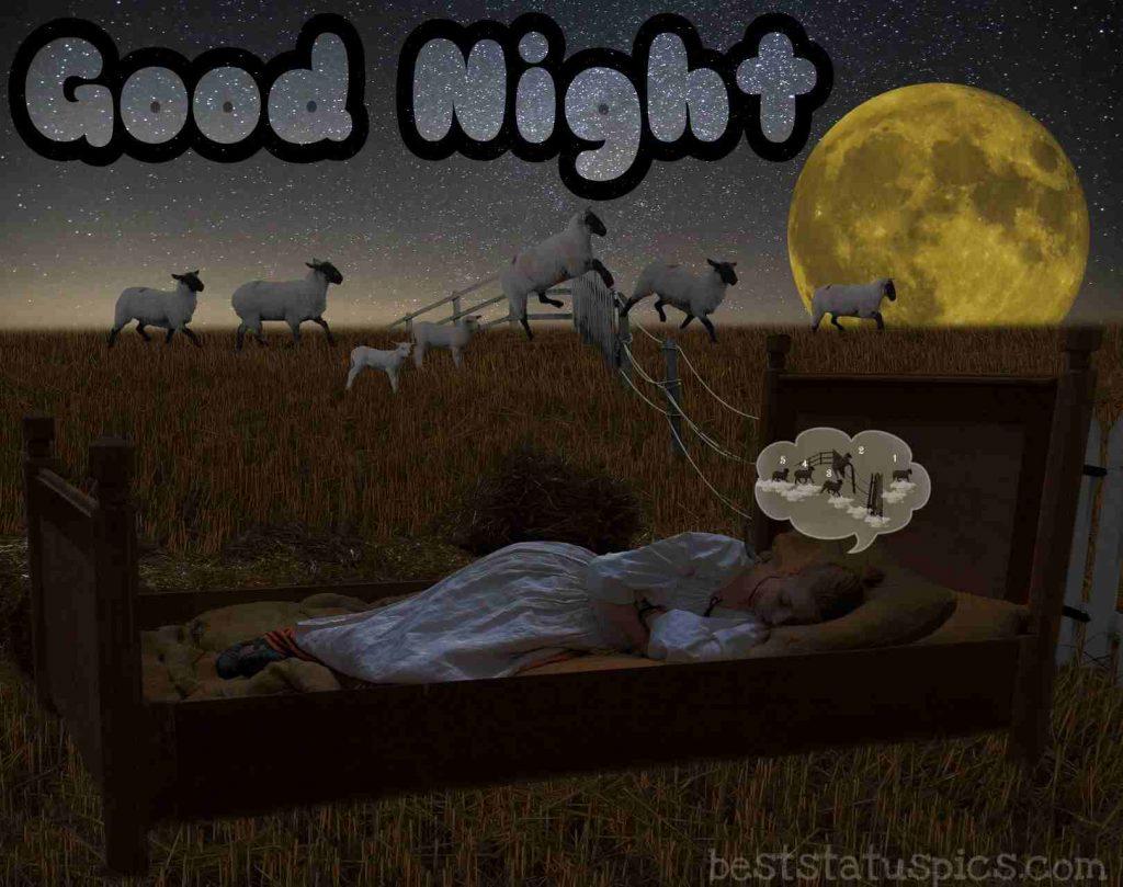 good night with girl sleeping on bed