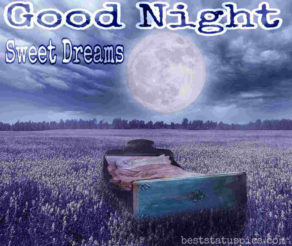 good night lovely bed image with moon