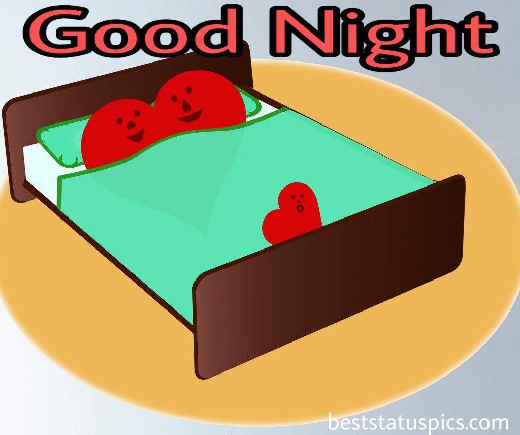 good night bed love couple