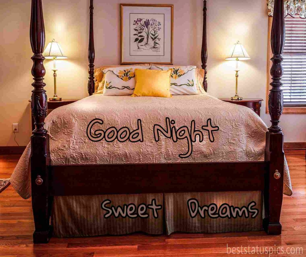 Bedroom with good night sweet dreams pic