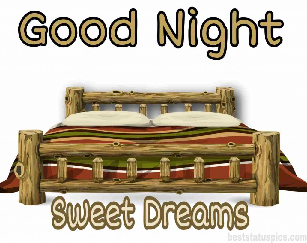good night sweet dreams on bed photo