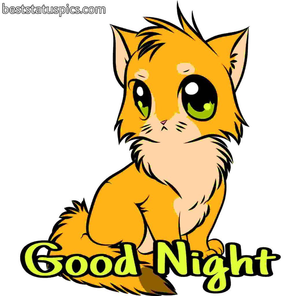 good night cartoon kitten picture