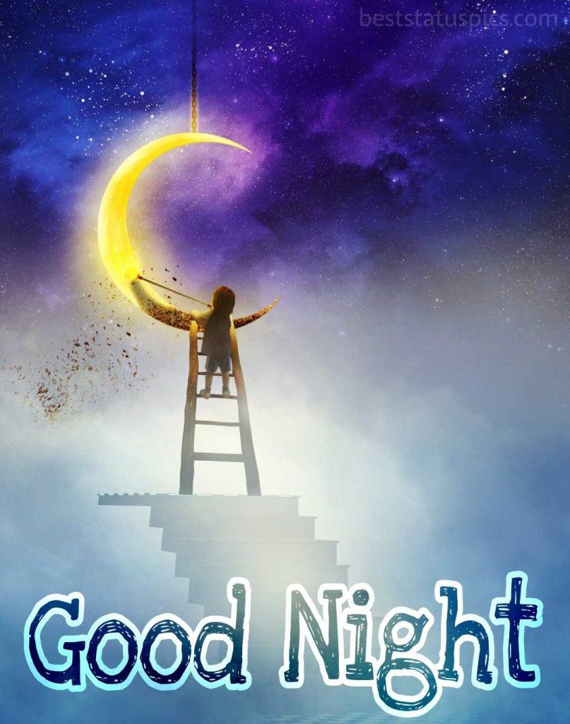 Cartoon and moon with good night wish