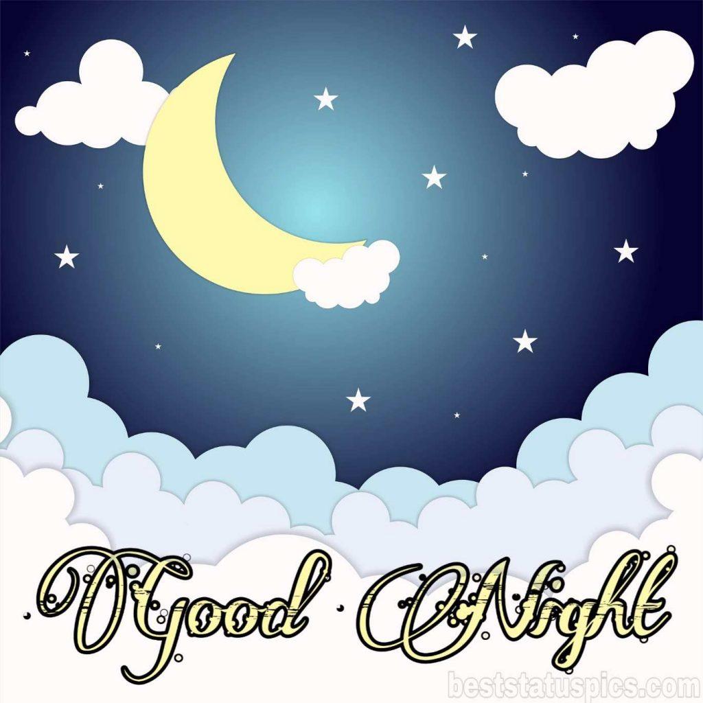 good night ke cartoon with moon image