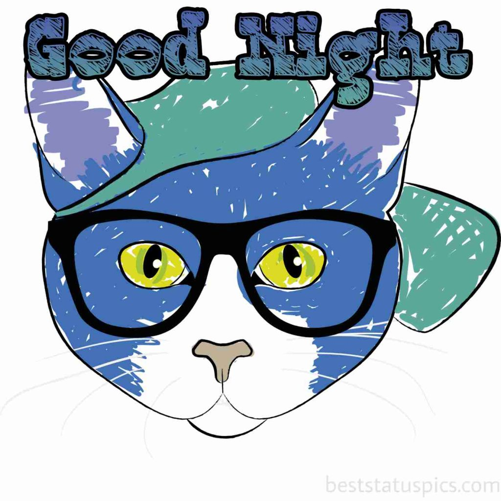 good night cat cartoon image
