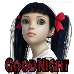 good night image with cute doll