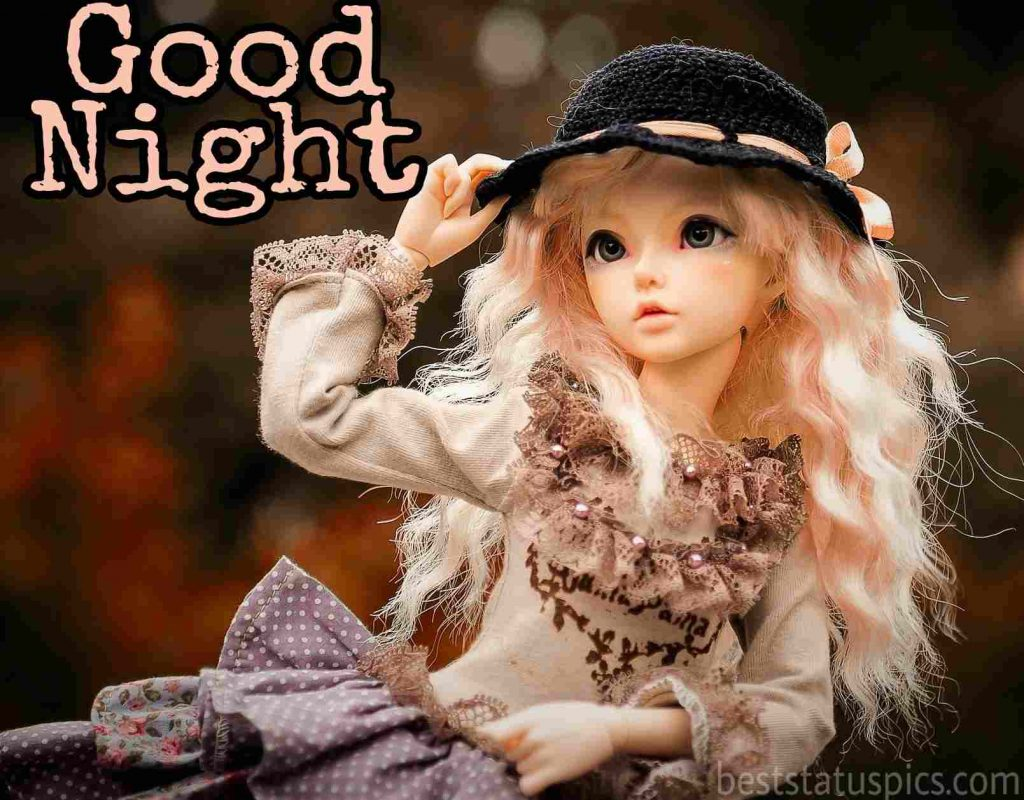 cute doll good night image