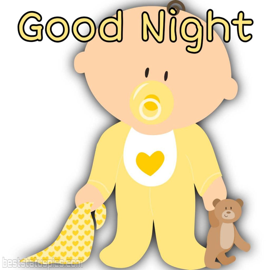good night baby with teddy pic