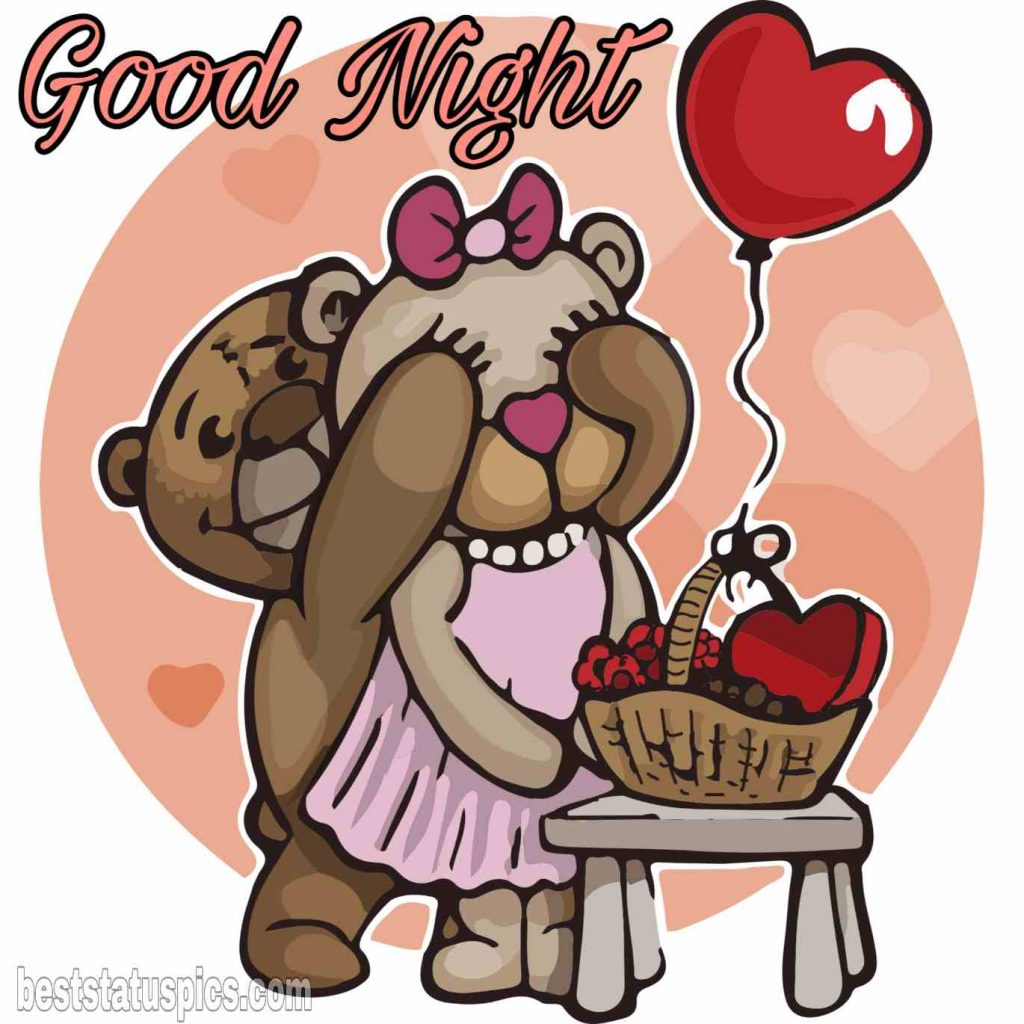 Teddy bear love wish with good night pic