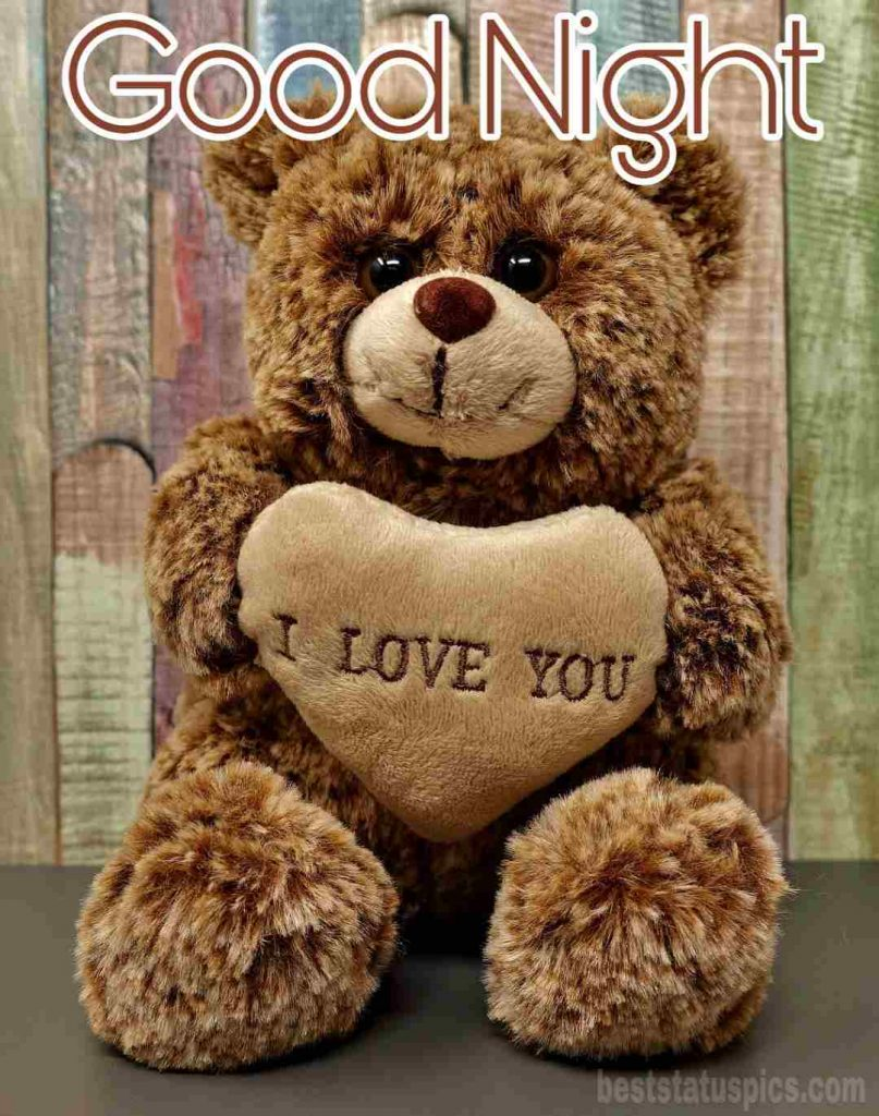 Good night love you pic with teddy bear