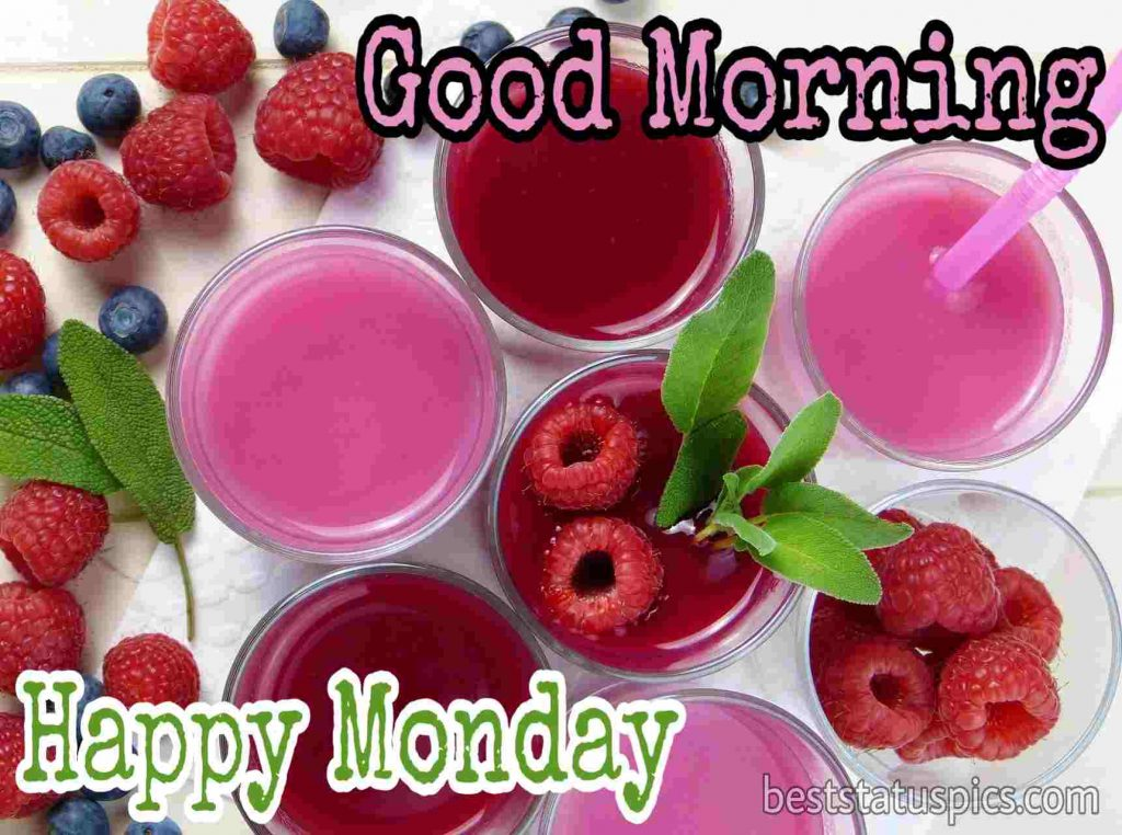 Good morning happy Monday images with strawberry and fruits