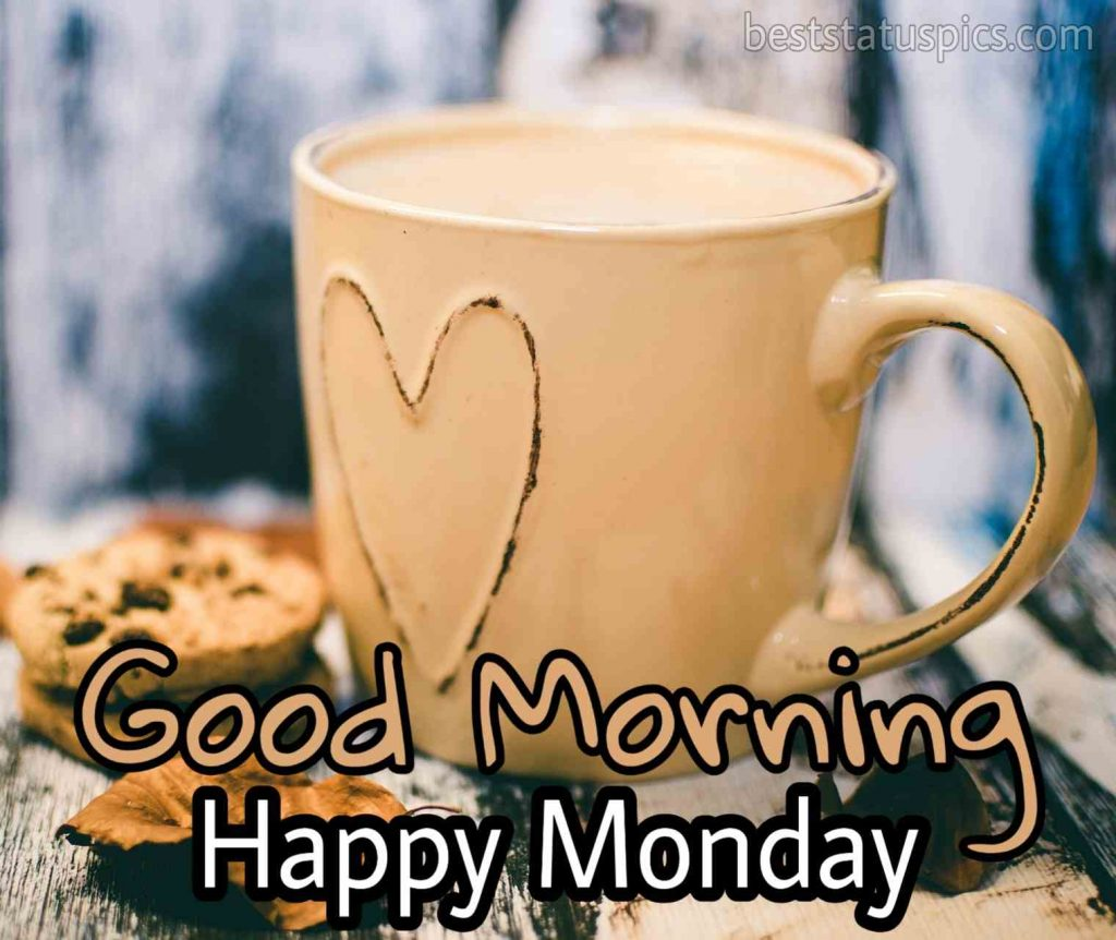 good morning happy monday with coffee mug and love heart image download