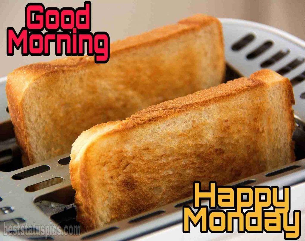 good morning happy monday pics with bread toast