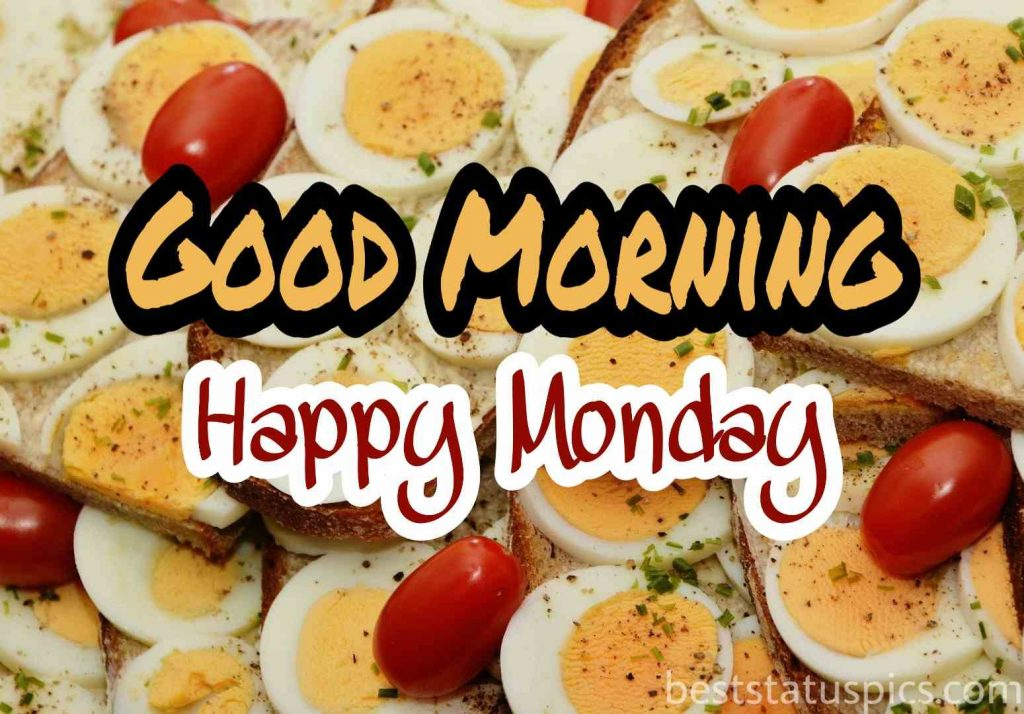 good morning happy monday photos with eggs and cherries