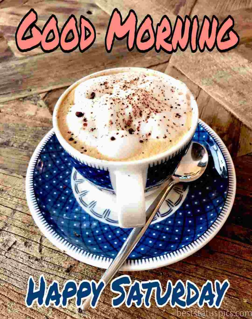 good morning on saturday with coffee cup and spoon