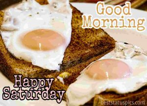 happy saturday good morning with bread, egg posh and fry pics
