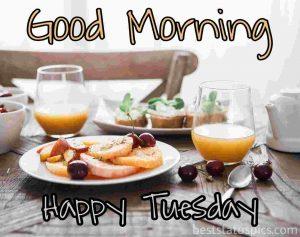 good morning happy tuesday breakfast, fruits, juice photo