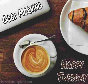 good morning happy tuesday quotes and images with coffee, laptop and snacks
