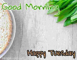 good morning happy tuesday with bread and breakfast photo