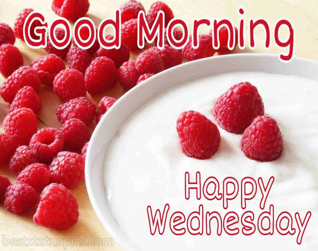 happy wednesday good morning photo with milk and strawberry