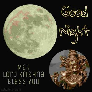 good night lord krishna photo with quote