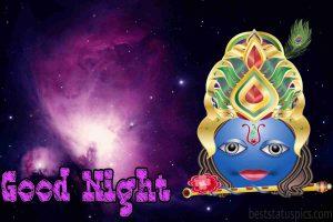 Shree krishna good night image for Whatsapp DP and Status