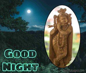 Shri krishna good night image HD with moon