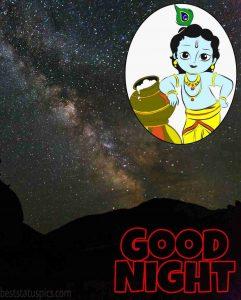 Good night bal krishna and sky image for Whatsapp Status