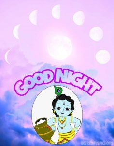 Good night krishna gopala image with moon