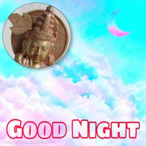 beautiful god krishna good night image with moon
