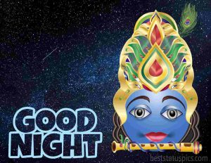 good night with krishna pic for instagram story