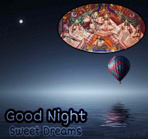 good night wishes with krishna and radha photo for facebook story