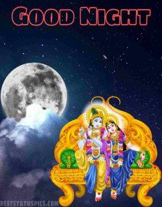 romantic good night radha krishna image HD with moon