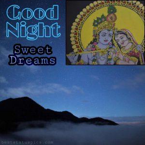 good night sweet dreams quotes with radha krishna pic