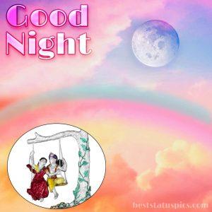 good night radha krishna whatsapp wallpaper download with moon pic
