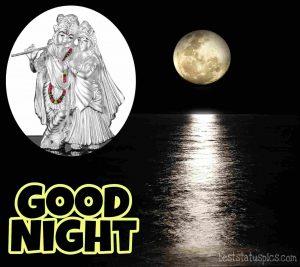 good night radha krishna love photo HD with moon