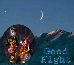 good night radha krishna love pic HD with moon