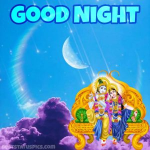 good night radha krishna love images HD with moon