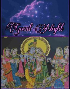 good night radha krishna love images with sky and universe