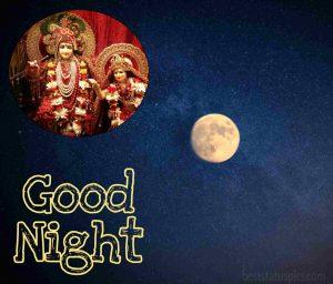 good night radhe krishna shayari and quote image with moon