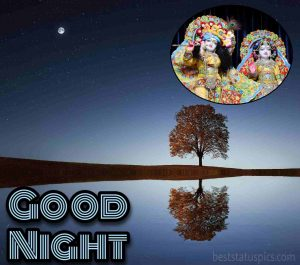 good night radhe krishna love images HD with moon and river