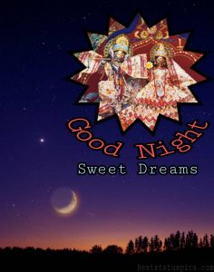 good night sweet dreams status and quote with radha krishna pic