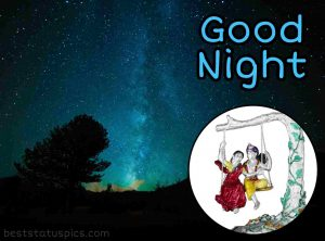 good night radha krishna love image HD for Whatsapp Staus