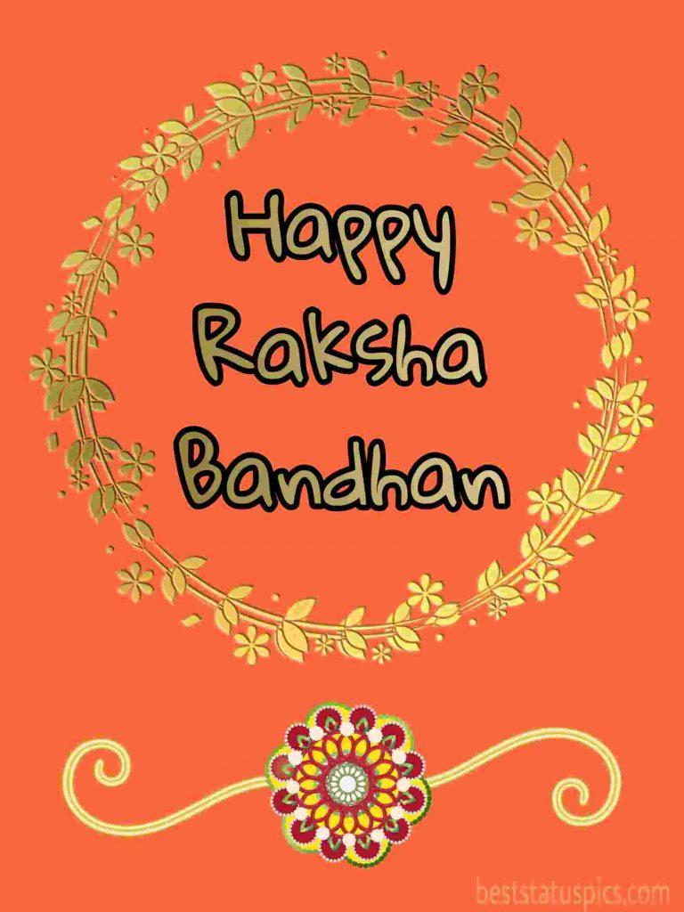 happy raksha bandhan 2020 card, image with rakhi, greeting SMS