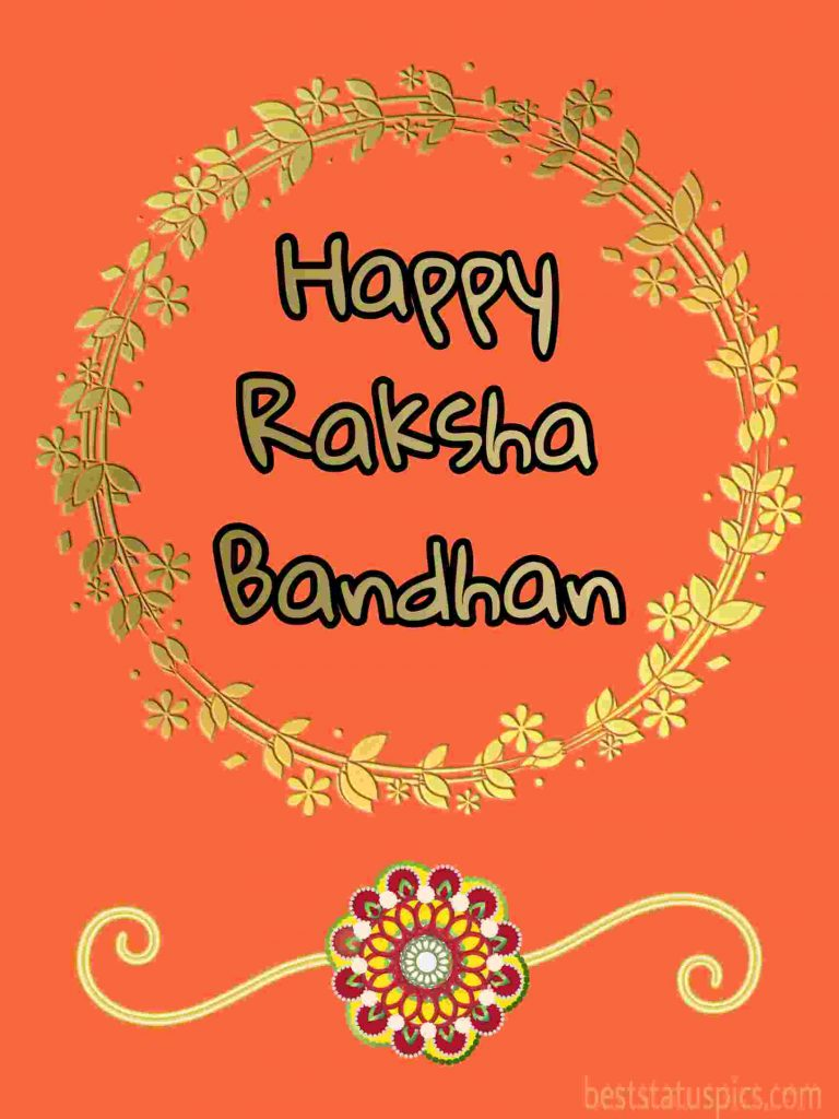 happy raksha bandhan 2020 card, image with rakhi, greeting SMS