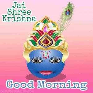 Jai shree krishna good morning quote image