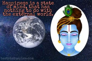 krishna vani quotes on happiness in english with little bal krishna photo