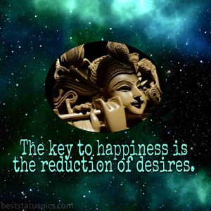 krishna motivational quotes in english on desire and happiness with image