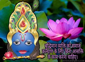 god krishna quotes in hindi with lotus flower photo